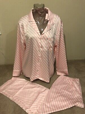 Victoria's Secret Satin Pj Set Top & Bottom ICONIC STRIPES Pink/White NWT$89.50
