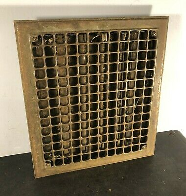 "Antique vtg heating 16"" by 14"" floor grille 14"" by 12"" register (hole needed)"