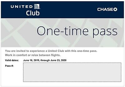 One (1) United Club Pass, Expires June 23, 2020 - Electronic Delivery