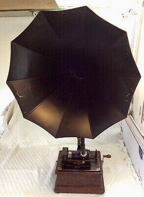 antique EDISON talking machine phonograph •FIRESIDE COMBO-Cyg Horn/K Reproducer•