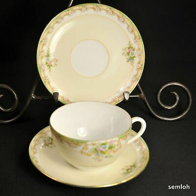 Noritake M-in-Wreath Cup 2 Saucers 1918 Hand Painted Floral w/Gold Made in Japan