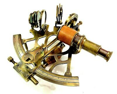 "Antique Nautical Brass Sextant 8"" Vintage Maritime Ship Navigational Instruments"
