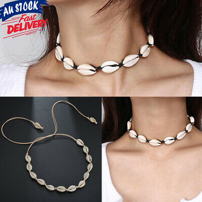 Women Retro Pendent Choker Jewelry Statement Rope Vintage Shell Necklace Cowrie