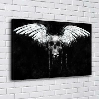 """Skull Angel Wings White Home Decor HD Canvas Print Picture Wall Art 16""""x26"""""""