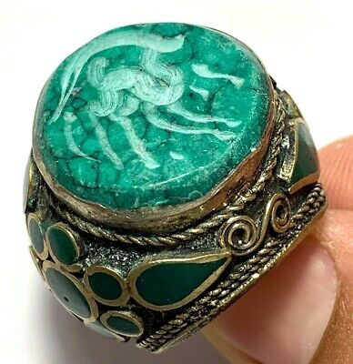 LATE MEDIEVAL SILVERED RING - RARE  STONE - SEAL ANIMAL 24.5gr (21.0 mm inner)