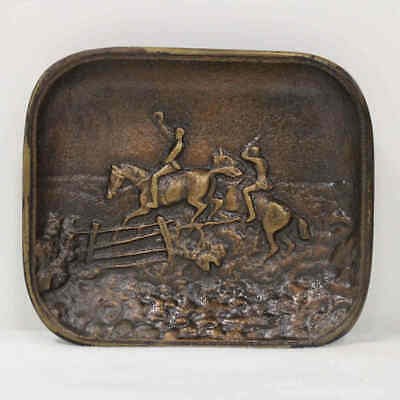 Vintage Decorative Small Brass Tray Two Horseman in Relief #209