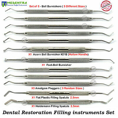 Composite Filling Instruments Dental Flat Plastic Plugger Ball Burnisher Spatula