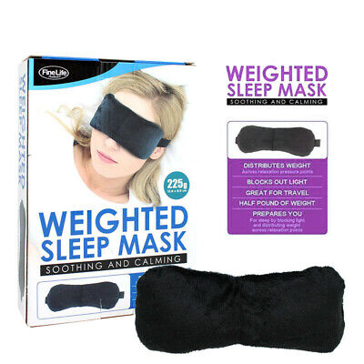 WEIGHTED EYE MASK SLEEP COVER EYE PATCH TRAVEL MEDITATION RELAXATION BLACK 225g