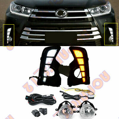 1 Set Bumper Light Fog Lamps LED Assy+Switch+Wire For Toyota Highlander 17-19-D