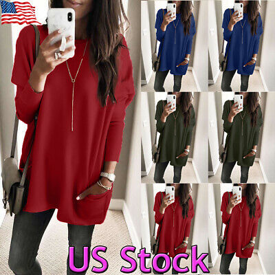 Women's Casual Long Sleeve Round Neck Loose Tunic T Shirt Blouse Tops Pocket US