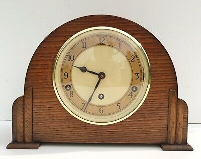 Art Deco Garrard Oak Westminster Chiming Mantle Clock