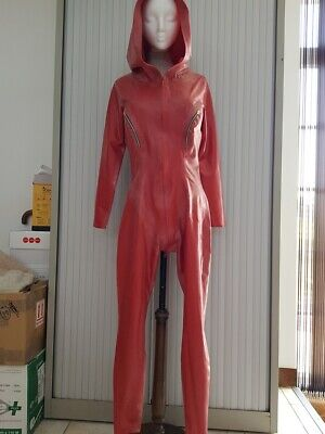 Rubber Eva Red Latex Hooded Catsuit XL