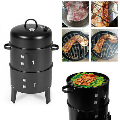 3 Layer BBQ Charcoal Grill Barbecue Smoker Garden Outdoor Party Cooking Pot UK