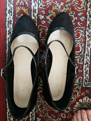Matalan Size 6 Black Heels with strap 1920s heels worn once!