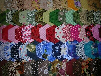 Fabric Hexagons X 100 Tacked To Paper Template Epp Multi Coloured Patchwork  Feb