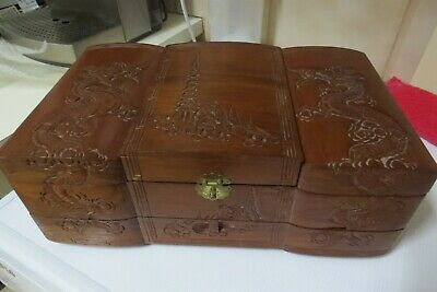 vintage Chinese Oriental  jewellery  Box  carved  Wood  mid 20c ( 40 to 50)