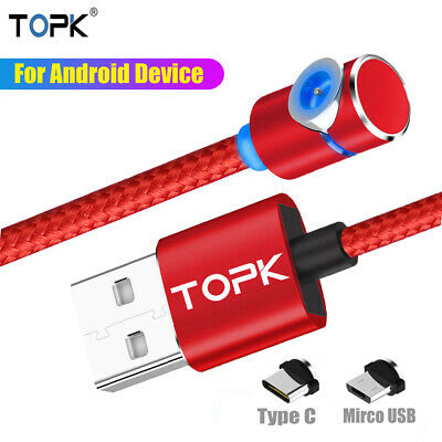 TOPK 1M/2M L-Shape Magnetic LED Magnet Charger Cable Game Cord Android Type C