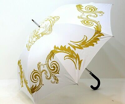 Versace White & Gold Medusa Umbrella With Cover For Women *New