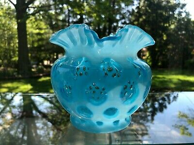 Vintage Fenton Blue Opalescent 5 inch Coin Dot Vase Ruffle Top
