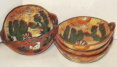 8 TALAVERA MEXICAN Hand Painted Pottery Ceramic Bowls Desert