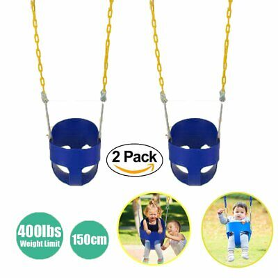 2X Outdoor High Back Full Bucket Toddler Swing Seat & Plastic Coated Chain