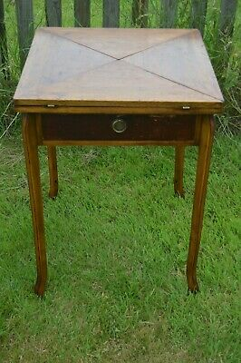 Antique Edwardian Mahogany Envelope Games Cards Table.