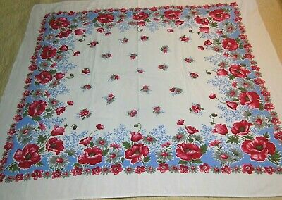 Vintage Tablecloth Huge Red Poppies Gray Daisies Blue Border
