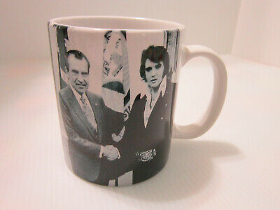 Elvis Presley & Richard Nixon  Coffee Mug/Cup Black & White Nixon Library