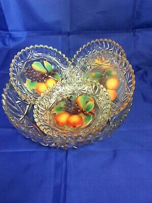 Retro Glass Patterned With Grapes, Pears & Oranges Fruit Bowl With 5 Dishes.