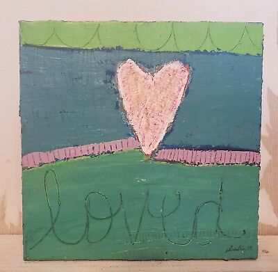 Loved Heart - Original Painting Mixed Media Art Signed on Repurposed Canvas 9X9