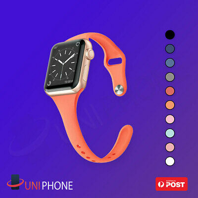 38 40 42 44 Sports Silicone Bracelet Strap Band SLIM Apple Watch wrist 5 4 3 2