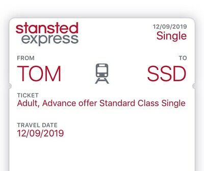 Stansted Express ticket Tottenham Hale to Stansted valid on 12 September 2019