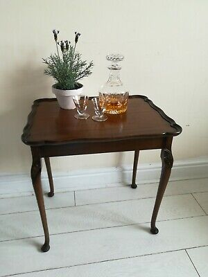 Antique Vintage Mahogany Wooden Coffee Tables Queen Anne Legs