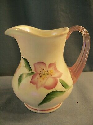 Fenton White Iridescent Glass Hand Painted Creamer - Pink Lilies w/ Pink Handle