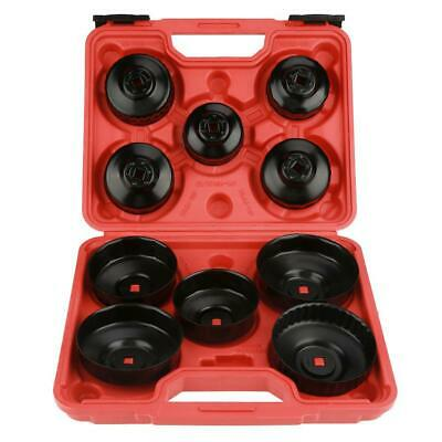 11 pcs Cup Type Oil Filter Cap Wrench Socket Removal Installer Tool Set w/ Case