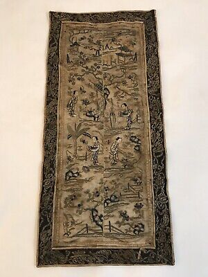 Antique Chinese Silk Forbidden Stitch Hand Embroidered Textile Panel Tapestry W1