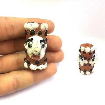 Genuine Ancient Antique Old Phoenician Glass Double Face Bead Historical Jewelry