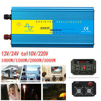 1000/1500/2000/3000W LED Pure Sine Wave Power Inverter  DC12/24V To AC110/220V