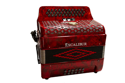 Excalibur Super Classic PSI 3 Row Button Accordion 3 Switch - Red
