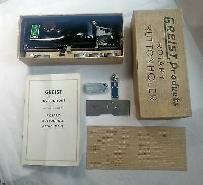 Vintage Greist Products Rotary Button Holer in Box w/ Instructions.
