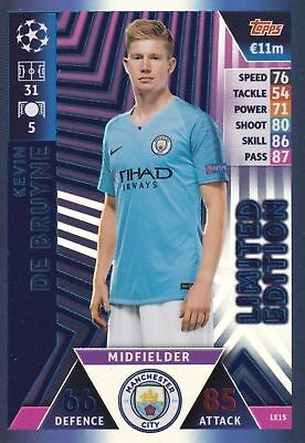 Match Attax Champions League 2018/19 Kevin de Bruyne Limited Super Squad LE15