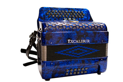 Excalibur Super Classic PSI 3 Row Button Accordion 3 Switch - Blue