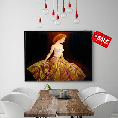 Art Print on Canvas Girl with Fiery Hair Andrew Home Wall Decor Painting 12x16
