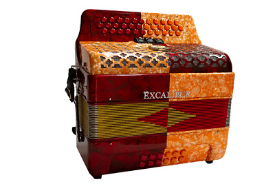 Excalibur Super Classic PSI 3 Row Button Accordion 3 Switch - Red/Orange