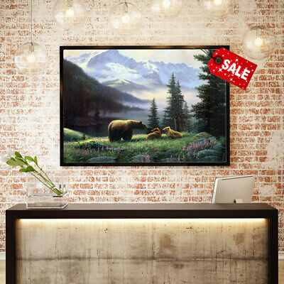 Oil Painting Art HD Print Home Wall Decoration Bear with Cubs on The Canvas12x16