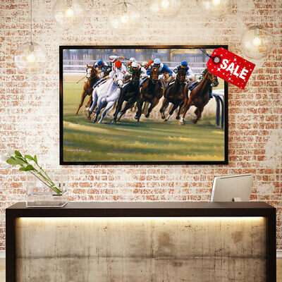 Oil Painting Art Anthony M.Alonso Turn Horse Racing for Deco Print Canvas 12x16