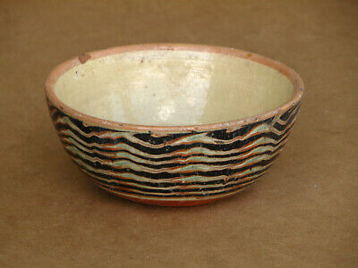 Antique Primitive Redware Dish Bowl Cup Mug Pan Painted Glazed Marked 19th