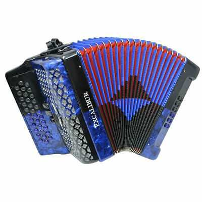 Excalibur Super Classic PSI 3 Row Button Accordion 3 Switch - Blue/Black