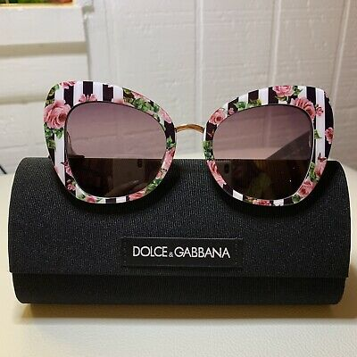 08506a1218a7 NWT DOLCE & GABBANA PINK ROSES ON BLACK SUNGLASSES DG 4319 w/CASE - ITALY
