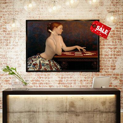 Decor Art Canvas Print Ndrew Malinowski The Girl Behind Solitaire Painting 12x16